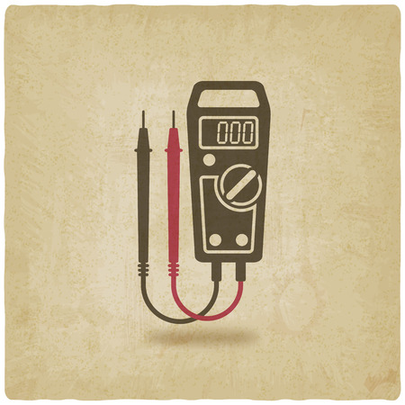 ohm: digital multimeter symbol old background vector illustration.