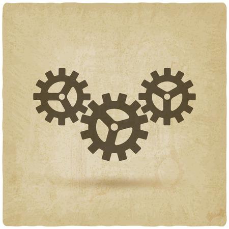 ingenieria industrial: engranajes conectado símbolo. concepto industrial viejo fondo de la ilustración vectorial.