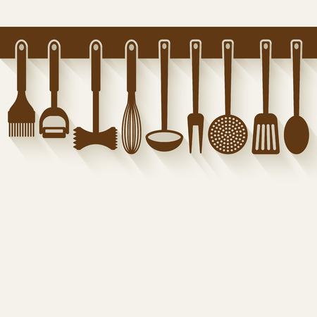 cuchillo de cocina: Utensilios de cocina Set ilustraci�n vectorial.