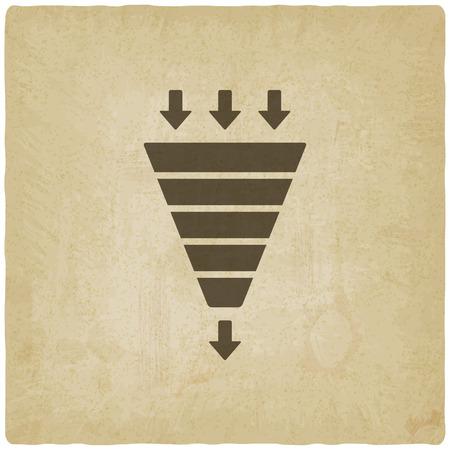 funnels: marketing funnel symbol old background vector illustration.  Illustration
