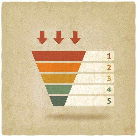 marketing icon: color marketing funnel symbol old background vector illustration.