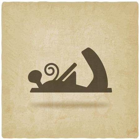 schaafmachine houtbewerking hulpmiddel oude achtergrond vector illustratie.