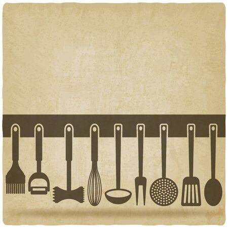 キッチン用品セット古い背景ベクトル イラスト。