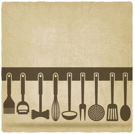 Kitchen Utensil Set old background vector illustration.