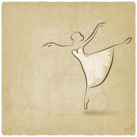 ballerina dancing studio symbol old background - vector illustration. eps 10