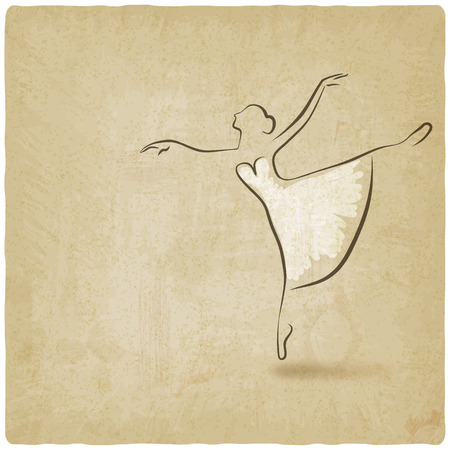 ballet studio: ballerina dancing studio symbol old background - vector illustration. eps 10