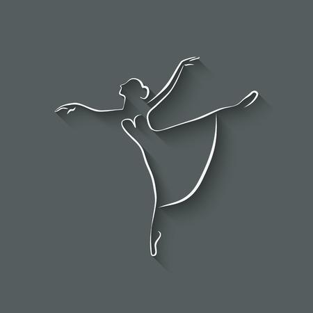 ballet studio: ballerina dancing studio symbol - vector illustration.