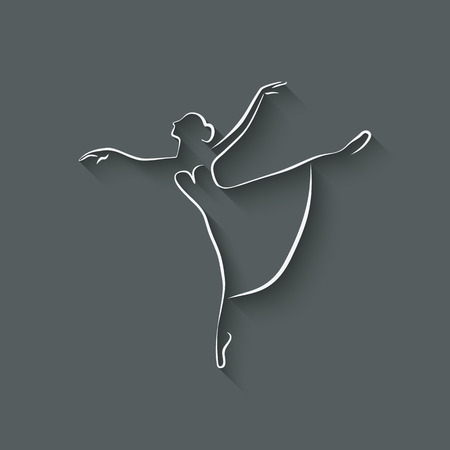 ballerina dancing studio symbol - vector illustration.