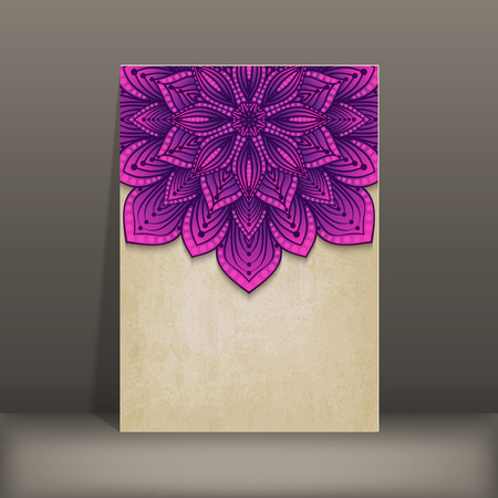 grunge paper card with purple floral circular pattern - vector illustration.