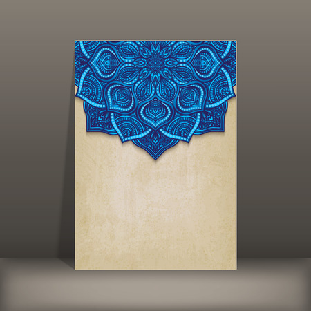 blue floral: grunge paper card with blue floral circular pattern - vector illustration.