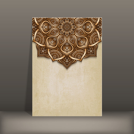 INVITATION: grunge paper card with brown floral circular pattern - vector illustration.