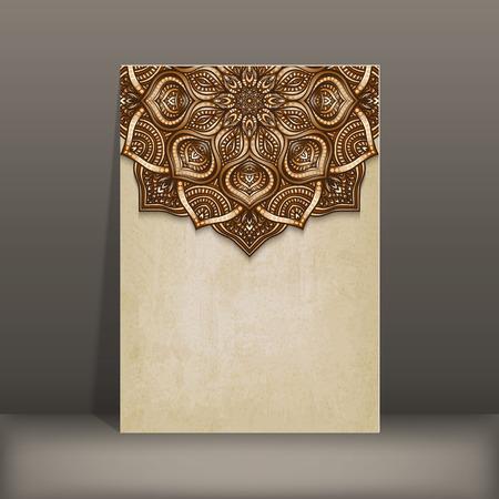 huwelijk: grunge papier kaart met bruine bloemen cirkelvormig patroon - vector illustratie.