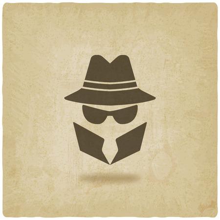 spy icon old background - vector illustration Illustration