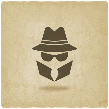 spy icon old background - vector illustration Stock Illustratie