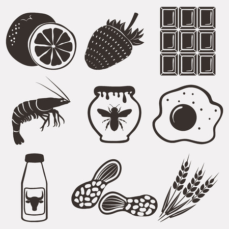 soy free: Allergy food icons set. vector illustration Illustration