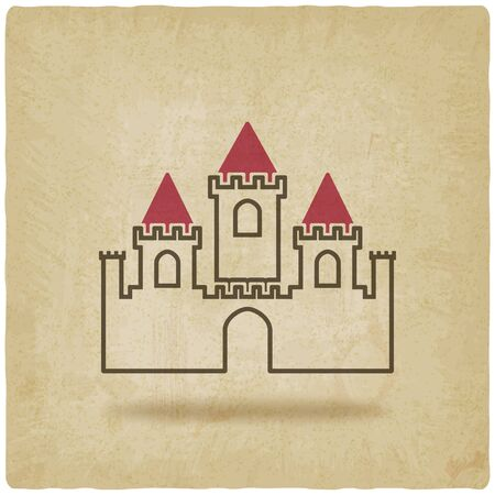 fort: castle with towers symbol old background. vector illustration