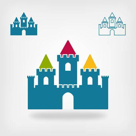 castello medievale: vecchio castello con torri simbolo. illustrazione vettoriale
