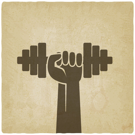 hand with dumbbell: hand with dumbbell. fitness symbol on old background. vector illustration Illustration