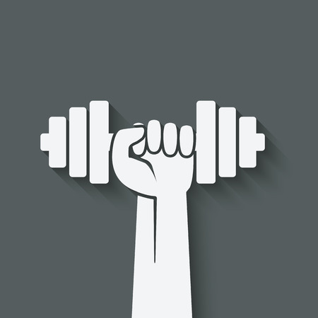 hand with dumbbell: hand with dumbbell. fitness symbol. vector illustration