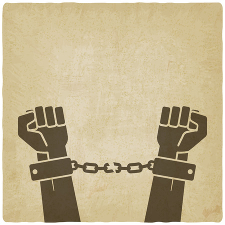 hands broken chains. freedom concept old background. vector illustration Vectores