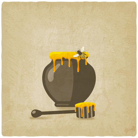 honey pot with bee and wooden dipper on old background. vector illustration