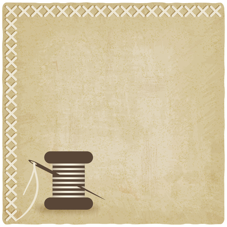 threads: sewing old  background with spool of thread and needle. vector illustration  Illustration