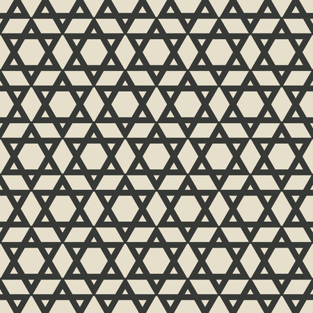 jewish star: six-pointed star monochrome seamless pattern. vector illustration