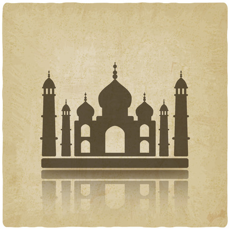 agra: Taj Mahal on old background. vector illustration  Illustration