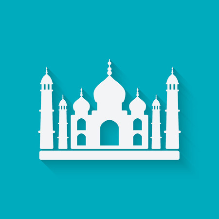 Taj Mahal on blue background. vector illustration