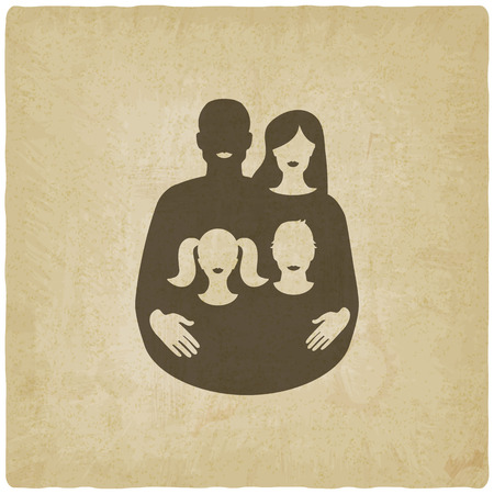 young family: young family concept. father and mother with children on old background. vector illustration