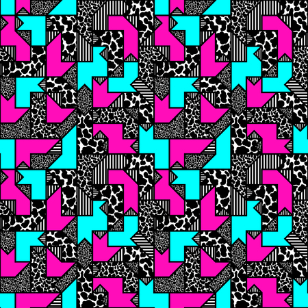 '80s: abstract bright colored geometric pattern in style of the 80s. vector illustration Illustration