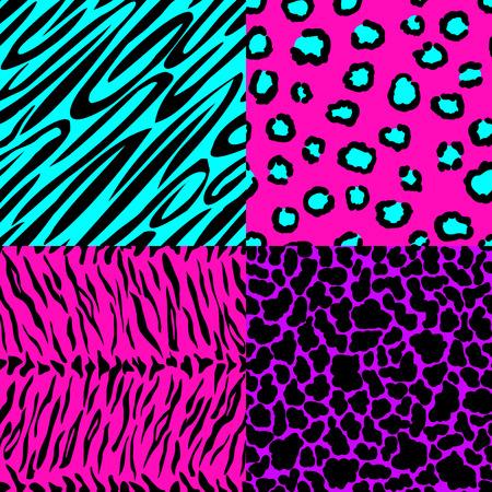 animal skin seamless patterns in bright colors. vector illustration Çizim