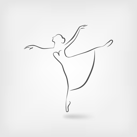 sketch ballerina dancing studio symbol. vector illustration Illustration
