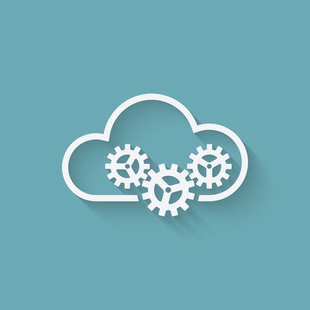 cloud icon: cloud computer concept symbol with gears. vector illustration
