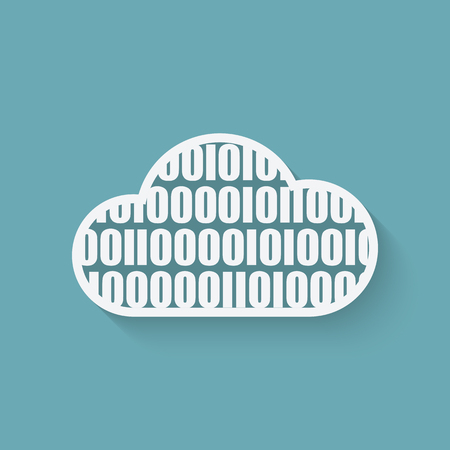 virtual server: cloud computer concept symbol with binary code. vector illustration - eps 10 Illustration
