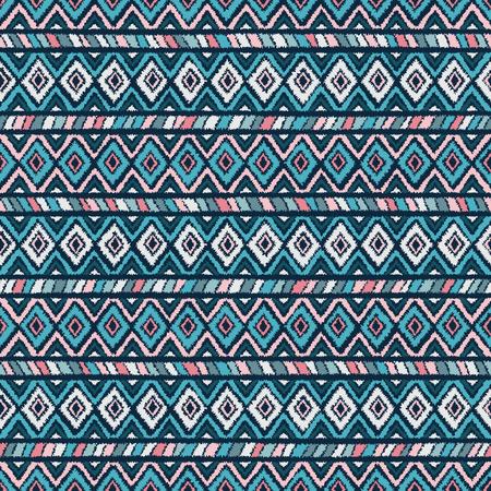 ethnischen Stammes nahtlose Muster in rosa und blauen Farben. Vektor-Illustration