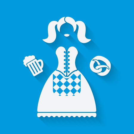 national women of color day: Girl in national dress with beer mug and pretzel. Oktoberfest beer festival concept in white and blue colors. vector illustration  Illustration