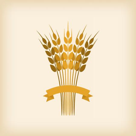 cosecha de trigo: Gavilla de oro del trigo con la cinta. ilustración vectorial Vectores
