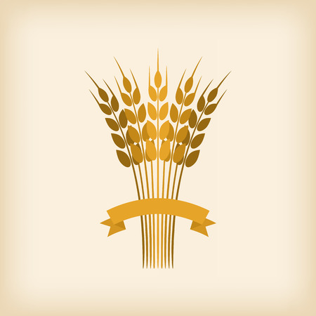 Golden sheaf of wheat with ribbon. vector illustration