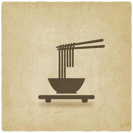 noodles: Chinese noodles old background. vector illustration - eps 10