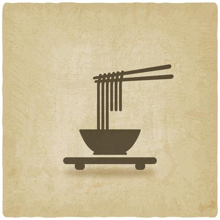 chinesisch essen: Chinesische Nudeln alten Hintergrund. Vektor-Illustration - eps 10 Illustration
