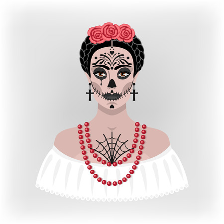 sexy black girl: girl with makeup for Day of the Dead - vector illustration. eps 8