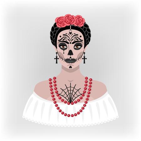 day of the dead: ni�a con maquillaje para el d�a de los muertos - ilustraci�n vectorial. eps 8