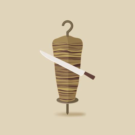 kabob: doner kebab with knife old background - vector illustration. eps 10