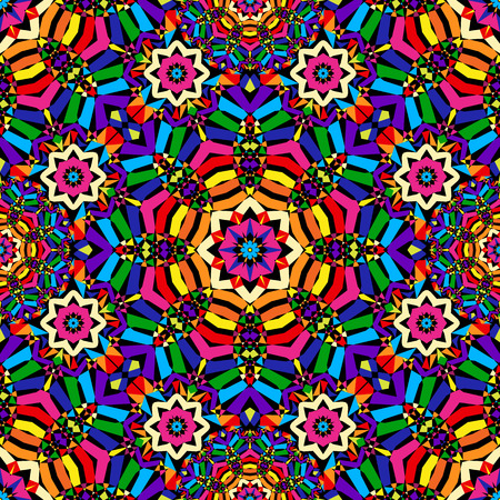 bright circular seamless kaleidoscope pattern - vector illustration. eps 8