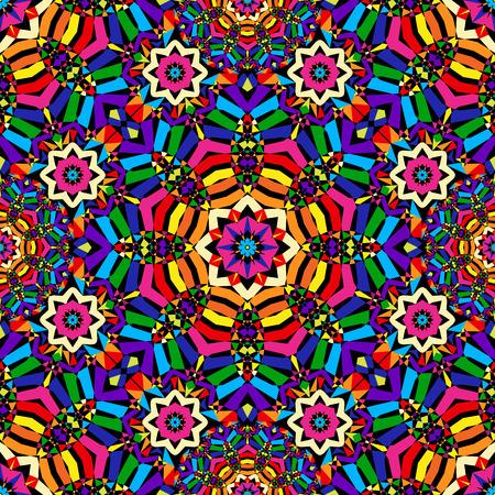 bright circular seamless kaleidoscope pattern - vector illustration. eps 8