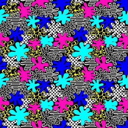 90s: colored bright spots seamless pattern in style of the 80s. vector illustration - eps 8