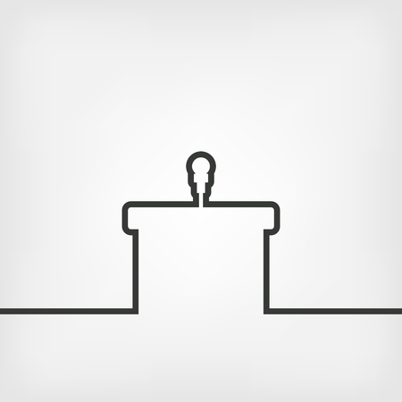 spokesperson: podium with microphone - vector illustration. eps 8 Illustration
