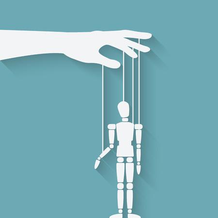 dominacion: la mano con la marioneta. ilustración vectorial - EPS 10