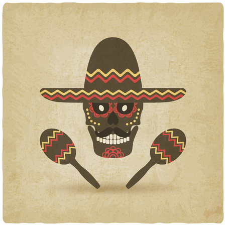 dead: concept for Day of the dead. sugar skull in sombrero with maracas. old background - vector illustration. eps 10 Illustration